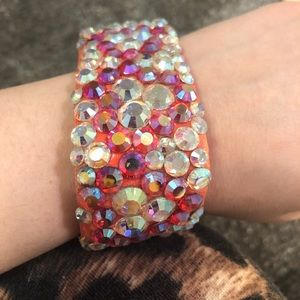 AB rhinestone sparkle stage bracelet orange pink